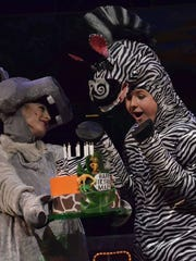 """Brianna Hobbs as Gloria The Hippo and Andrew Wilson as Marty The Zebra in """"Madagascar, Jr."""""""