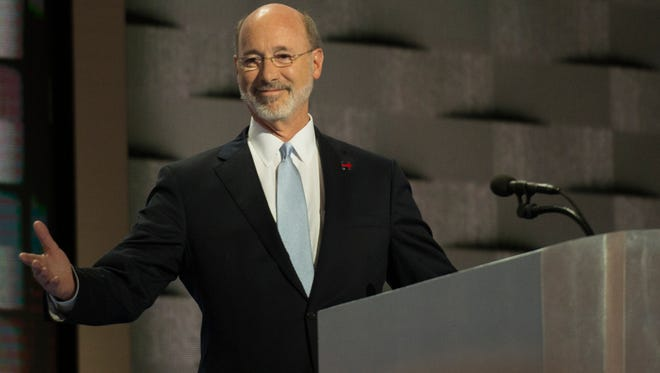 Pennsylvania Gov. Tom Wolf speaks during the  Democratic National Convention at the Wells Fargo Center in Philadelphia on Thursday, July 28, 2016