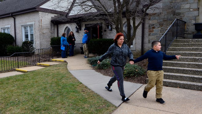 Students were evacuated and sent home from school early after a suspected gas leak at Phineas Davis Elementary School, Friday, January 27, 2017.  John A. Pavoncello photo