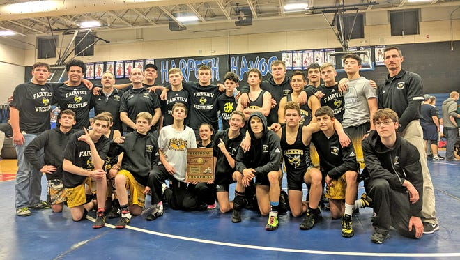 The Fairview High School Wrestling Team - now, the first boys Fairview team to make it to state after winning the Region Team Duals Jan. 22, 2018.