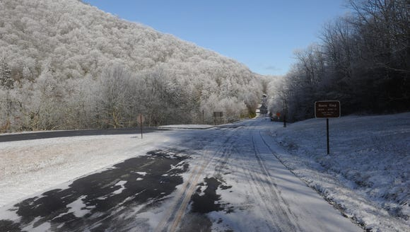 Ice covers the Blue Ridge Parkway in this file photo