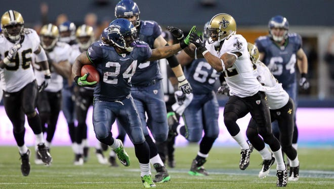 Seahawks RB Marshawn Lynch's (24) 67-yard TD run effectively iced the Saints in the 2010 playoffs.