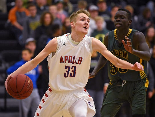 Apollo's Ben Giese drives to the basket during the