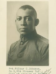 """Pvt. Wilbur Johnson of Oskaloosa, Iowa, died of disease on Oct. 21, 1918, in France during World War I. His memory is honored in the """"World War I Honor Roll"""" traveling exhibit that opens May 26 at the State Historical Museum of Iowa in Des Moines."""