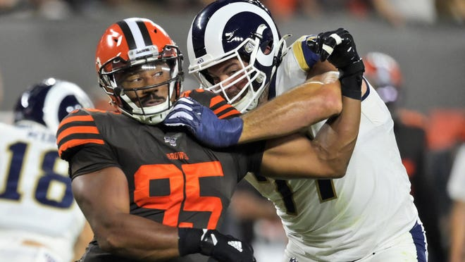 Browns defensive end Myles Garrett tries to get past Los Angeles Rams offensive tackle Andrew Whitworth during a game in September.