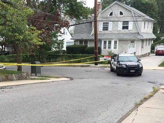 Police tape blocks Marshall Road at Ridge Road in Yonkers