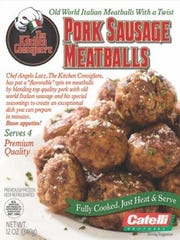 Pork Sausage Meatballs from  The Kitchen Consigliere can be prepared at home. The fully cooked meatballs can be  sauteed, simmered or baked.