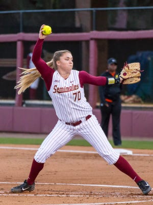 Cassidy Davis (70) had 6 strike outs as the FSU softball team defeats local rival FAMU on Wed., Feb.15 at JoAnne Graf field in Tallahassee, FL by a score of 5-0
