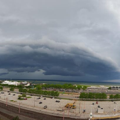 Storms over Lake Erie just northwest of downtown Cleveland