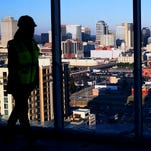 Chloe' Evans gives a tour of a penthouse apartment under construction at Element Music Row high rise building which has dramatic views of downtown Nashville.  Element Music Row t is located on Demonbreun Street and will be completed in April 2016.