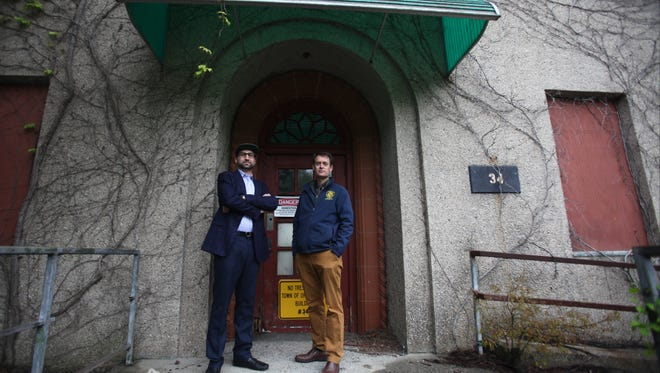 Film maker Eugene Camali (left) and town Supervisor Andy Stewart (right) are trying to develop abandoned buildings and land to attract movie studios to Orangetown.