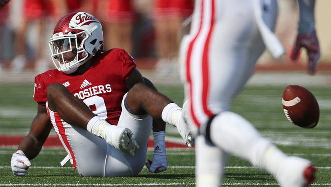 Indiana Hoosiers defensive back Jonathan Crawford (9) waits for the call from the referee after causing an incomplete pass for Wake Forest during first half action at Memorial Stadium, Bloomington, Ind., Saturday, September 24, 2016.