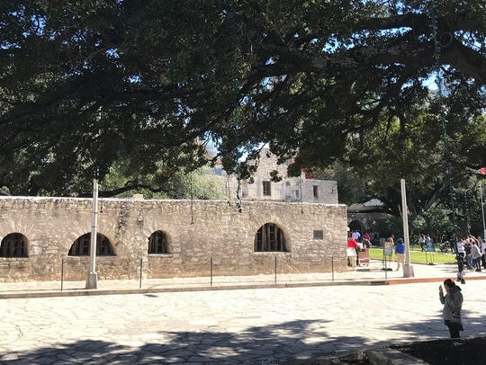 The Alamo Long Barack, once two stories tall, still