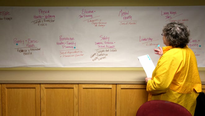 Marcia Kelley, of Salem, looks over important issues facing women and girls during the Listen to Her town hall at Chemeketa Community College in Salem on Tuesday, April 12, 2016. The event, hosted by the Women's Foundation of Oregon, is part of a tour of town halls to listen to the needs and stories of women and girls across the state.