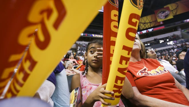 Fans cheer on the Indiana Fever during the Indiana Fever vs. the Los Angeles Sparks on Tuesday, July 19, 2016 at Banker's Life Fieldhouse.