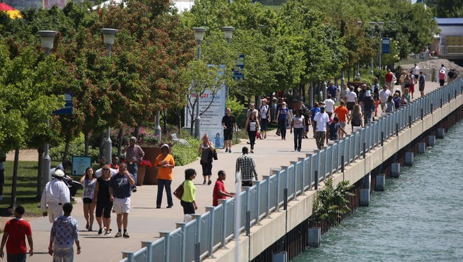 Detroit's RiverWalk will be bustling with activity during GM River Days. The event was launched a decade ago to showcase Detroit's riverfront renaissance.