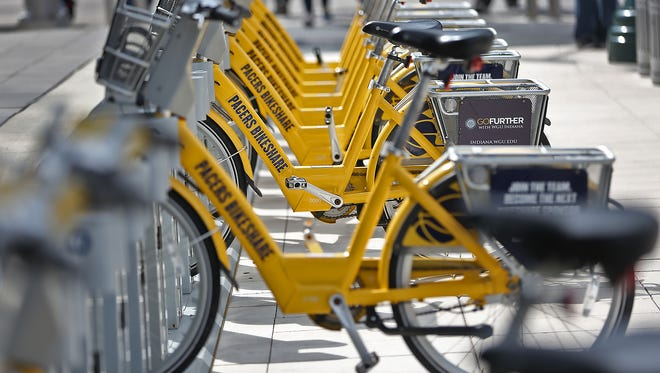 Bikes wait to be used in the Indiana Pacers Bikeshare program. A federal grant will allow the program to double in size by the end of 2018.