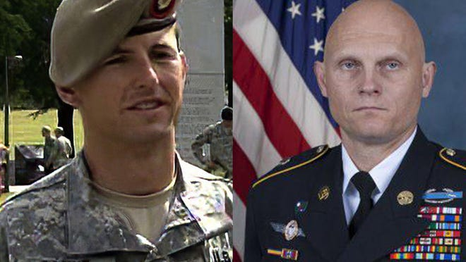 Roland native and United States Army Master Sgt. Joshua Wheeler, right, posthumously earned the Silver Star in an Oct. 22, 2015, hostage rescue operation in Iraq that recovered almost 70 hostages from ISIS and earned Army Sgt. Maj. Thomas Payne, left, the Medal of Honor.