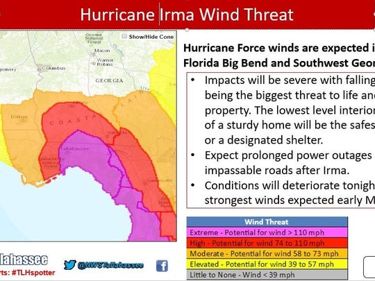 The latest guidance from the National Weather Service