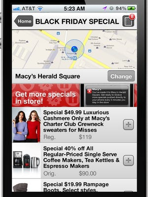 This image provided by Macy's shows the retailer's Black Friday app, which allows shoppers to view specials and create sharable shopping lists.