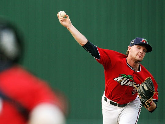 The Fort Myers Miracle's Kohl Stewart pitches against the St. Lucie Mets at Hammond Stadium on Thursday in Fort Myers.