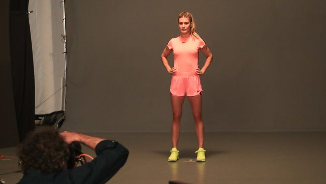 Eugenie Bouchard poses at a WTA photoshoot, Sunday, March 4, 2018.