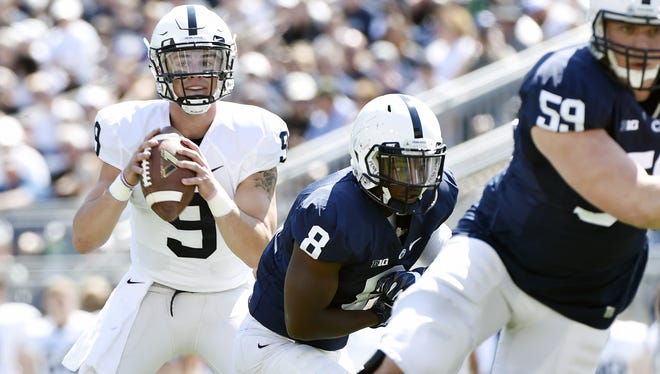 Penn State quarterback Trace McSorley looks to pass the ball in the first half of Penn State's Blue-White Game in April.