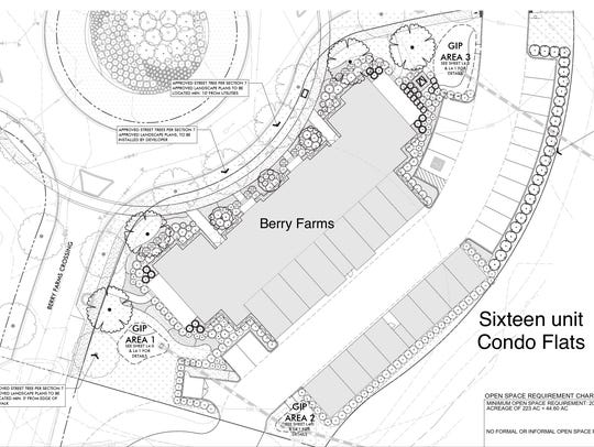 The Berry Farms site plan shows the 16 condo flats