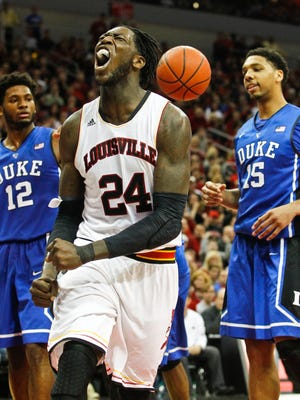Louisville's Montrezl Harrell could howl but not much more as the Cardinals lost to Duke 63-52 at the KFC Yum! Center Saturday. Jan. 17, 2015 By Matt Stone, The Courier-Journal