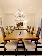 The Wendell Castle dining room furniture includes an