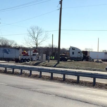 Emergency personnel respond to a Jan. 10 collision