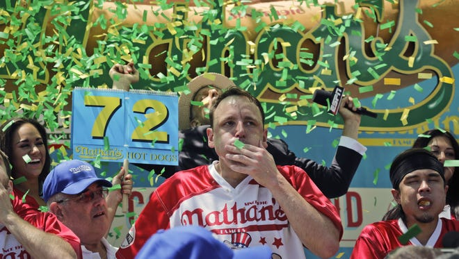 Joey Chestnut wins the Nathan's Annual Famous International Hot Dog Eating Contest, marking his 10th victory in the event.