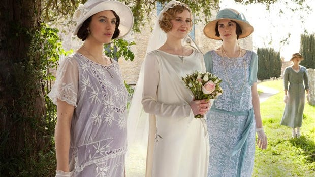"""Edith's wedding gown and the dresses worn by her sisters Sybil and Mary will illustrate how """"Downton Abbey"""" styles are enhanced for television."""