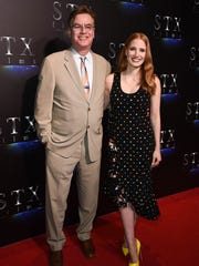 Aaron Sorkin and Jessica Chastain attend CinemaCon