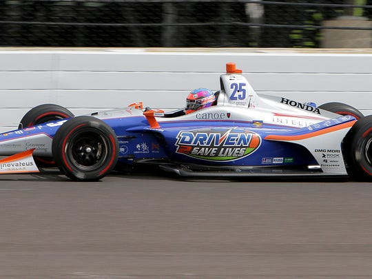 Row 8, starting 23rd: Andretti Autosport IndyCar driver Stefan Wilson (25) during practice for the Indianapolis 500 at the Indianapolis Motor Speedway on Wednesday, May 16, 2018.