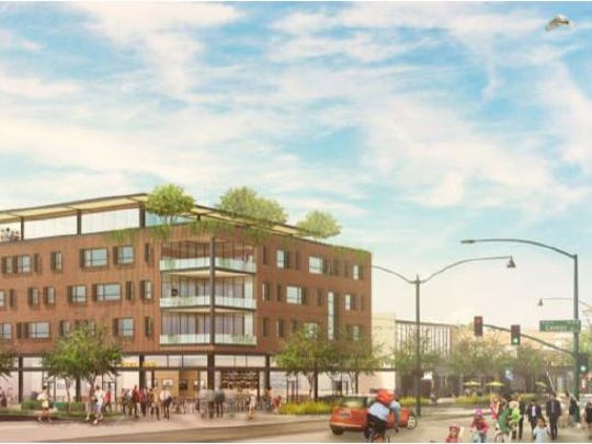 A rendering of what the redeveloped 1 W. Main St. site