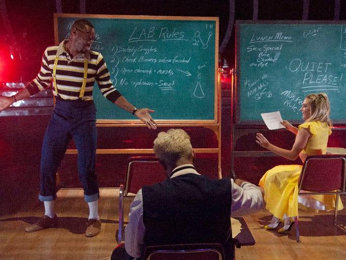Lindsay Arnold and Calvin Johnson Jr.  perform during