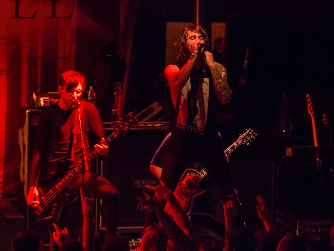 Blessthefall performs at Vinyl Music Hall Monday night.