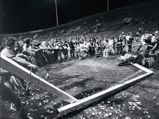 August 23, 1980 - Fans tear down the goal after the last game ever for the Memphis Rogues pro soccer team which was at Liberty Bowl Memorial Stadium against the Houston Hurricane. The Rogues won 6–1. Tony Field scored the final goal in Memphis Rogues history. While the game was really a great way to go out,  the Rogues were mathematically eliminated from the playoffs since the Hurricane only need one goal to qualify.