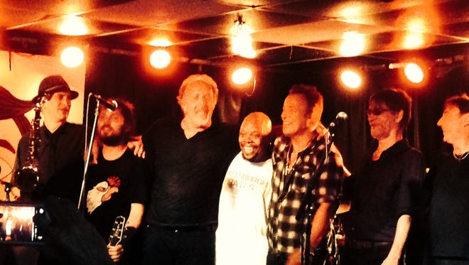 Bruce Springsteen with Joe Grushecky and the Houserockers and Eddie Manion at the Wonder Bar in July.