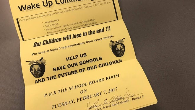 "Rapides Parish School Board member and district F representative John Allen mailed fliers out this week asking community members to ""save our schools"" from being closed."
