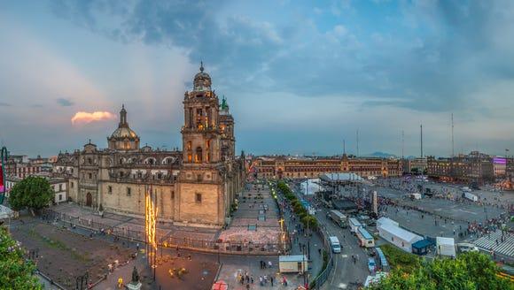 Zocalo square and Metropolitan cathedral in Mexico