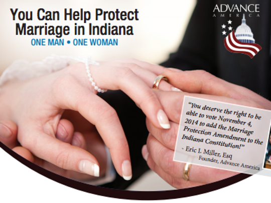 A snapshot of part of the Sunday bulletin insert being distributed by Advance America.