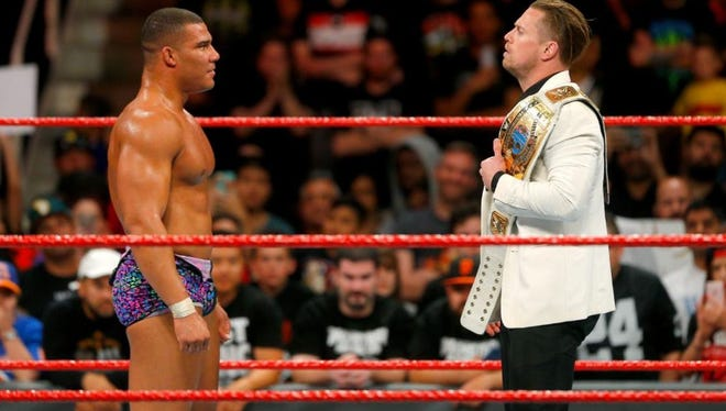 """IU grad Jason Jordan, right, faces off against WWE Intercontinental Champion The Miz on WWE """"Monday Night Raw."""" Jordan will get a shot at the title during the WWE """"No Mercy"""" event this Sunday."""