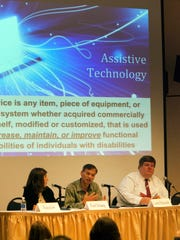 The New Jersey Conference on Disability and Employment was held at Raritan Valley Community College on Monday. Pictured, a panel on Assistive Technology in the Workplace, from left to right: Tracy Lee, CCC-SLP/ATP The Gramon Family of Schools; Fred Tchang, director, Assistive Technology Services; and Curtis Edmonds, managing attorney, Disability Rights NJ.
