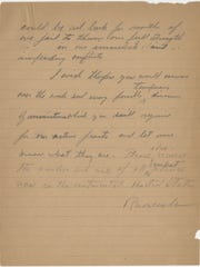 The second page from a message President Franklin Roosevelt
