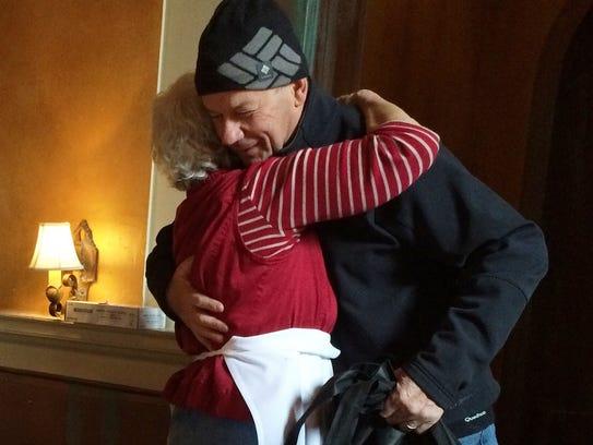 Volunteers' warmth: Emmanuel Tissot, 70, of Jericho,