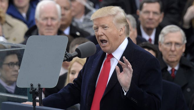 President Donald Trump speaks after taking the oath on Jan. 20, 2017 in Washington, D.C.