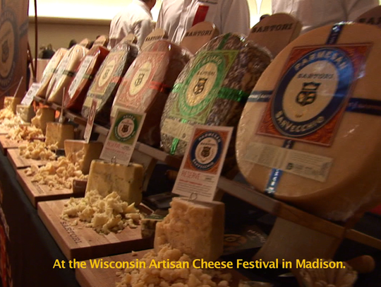 Selections of cheese at the Wisconsin Artisan Cheese