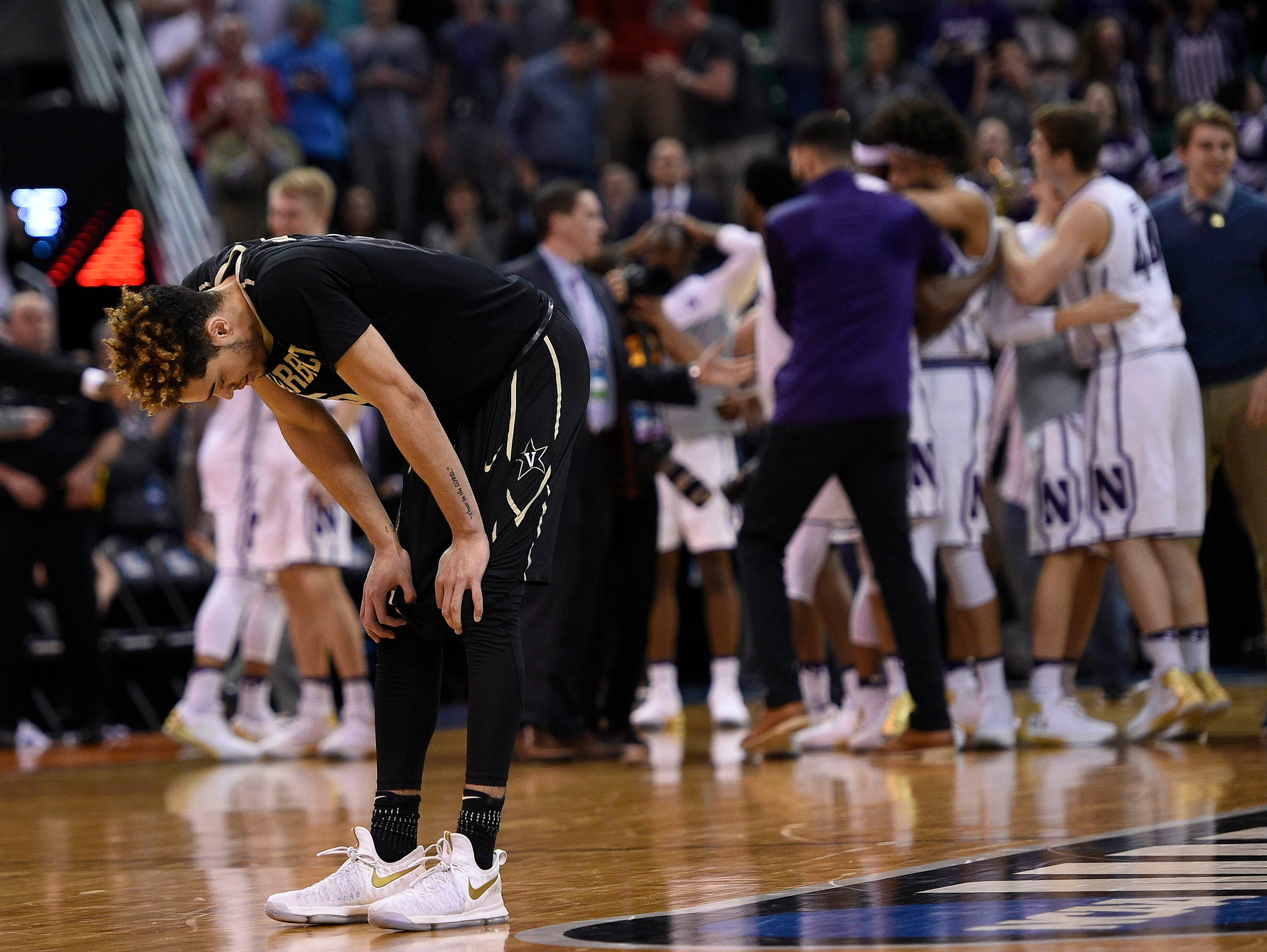 Vanderbilt guard Matthew Fisher-Davis (5) reacts following the 68-66 loss against Northwestern in the first round of the NCAA tournament in Salt Lake City on March 16, 2017.